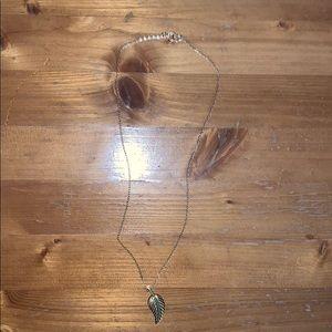 Gold metal leaf necklace